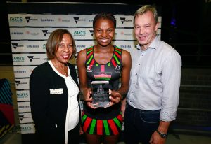 2016 Fast 5 Netball World Series Game 6 New Zealand v South Africa INF Molly Rhone and Mwai Kumwenda presentation
