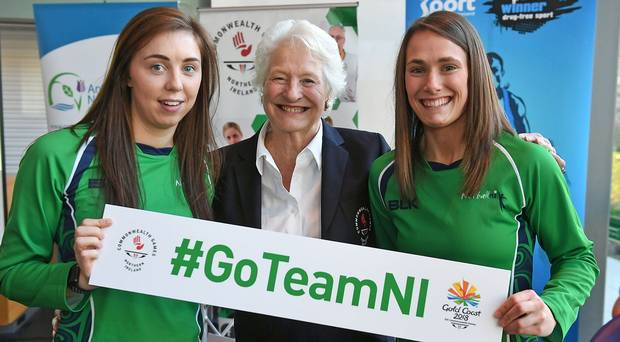 Fionnaula Toner (left) and Niamh Cooper (right) with Dame Mary Peters (center) Photo credit - Belfast Telegraph